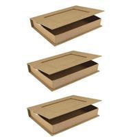 Rayher hobby materialen 3x Papier mache doosje boek 16 cm Beige