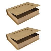 Rayher hobby materialen 2x Papier mache doosje boek 16 cm Beige