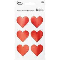 Geen 24x Rode hartjes stickers 4 cm Rood
