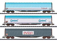 MiniTrix T15375 N 3-delige set wagons met schuifoverkapping mineraalwater transport