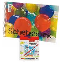 Schetsboek/tekenboek wit papier A4 incl 24 kleurpotloden Wit