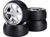 Reely 1:10 Straatmodel Complete wielen Drift 6-spaaks Chroom 4 stuk(s)