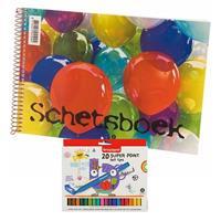 Schetsboek/tekenboek wit papier A4 incl 20 viltstiften superpunt Wit