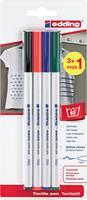 Edding textielstift 4600, set van 4 stuks in geassorteerde basiskleuren (3+1 gratis)