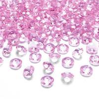 100x Hobby/decoratie lichtroze diamantjes/steentjes 12 mm/1,2 cm Roze