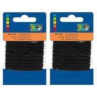 2x Zwarte hobby elastieken van 0,8 mm x 5 meter - Knutselartikelen