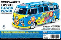 tamiya 1:10 RC VW Bus Type 2 T1 Flower Power 1:10 RC auto Elektro Straatmodel