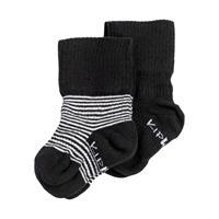 KipKep Blijf Sokken Zwart / Wit Streep 0-6 Maanden