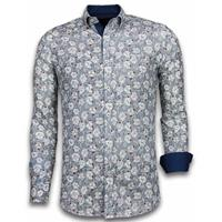 Gentile Bellini Italiaanse Overhemden - Slim Fit Overhemd - Blouse Drawn Flower Pattern - Blauw