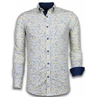 Gentile Bellini Italiaanse Overhemden - Slim Fit Overhemd - Blouse Drawn Flower Pattern - Beige