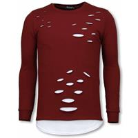 Longfit Sweater - Damaged Look Shirt - Bordeaux