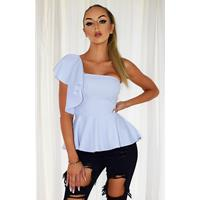 Exclusivepremium Mishka Peplum Frill Top Pale blue