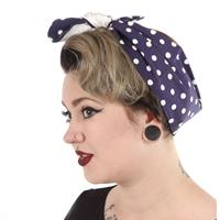 Fiftiesstore Vintage Inspired Headband Navy Dots/White