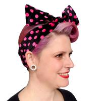 Fiftiesstore Velvet Headband Black/Pink Dots