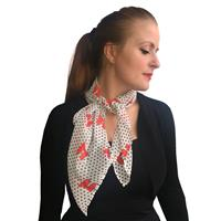 Fiftiesstore Bettie Scarf White, Red Bows / Black Dots
