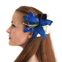 Fiftiesstore HM Corsage Jess Lily Orchid Dark Blue