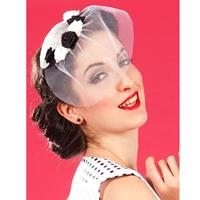 Fiftiesstore Blanche Lou Fascinator, White and Black