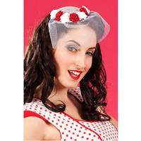 Fiftiesstore Blanche Rose Fascinator, White and Red