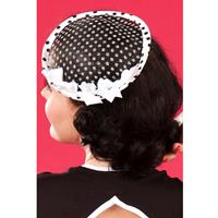Fiftiesstore Lexis Lou Dot Fascinator, Black and White