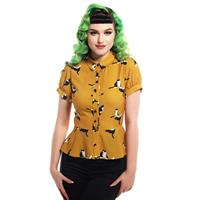 Fiftiesstore Mary Grace Kitty Cat Print Blouse Mustard