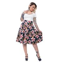 Fiftiesstore Tropical Dream Lined Skirt Navy