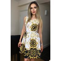 Exclusivepremium Candice Paisley Skater Dress Ivory