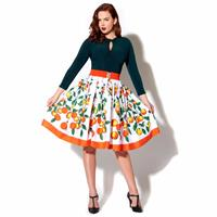Fiftiesstore Jenny Skirt Orange Print