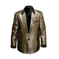 Fiftiesstore Box Jacket, Goud Lame / Zwart Velvet