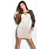 Sexy  lace-minidress with rhinestone-brooch Beige