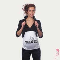 Op en Top Zwanger Zwangerschaps Buikband Wanted Wit