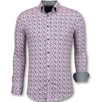 Gentile Bellini Slim Fit Stretch Overhemd - Heren Blouse Print - 3013 - Roze