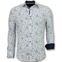 Gentile Bellini Heren Overhemden Regular Fit - Bloemen Blouse Mannen - 3007 - Wit