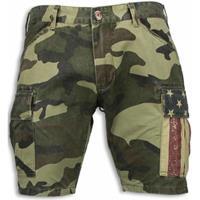 Korte Broek Korte Broeken Heren - Slim Fit Camouflage Shorts