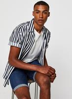 Only & Sons Gestreept regular-fit overhemd met reverskraag-Marineblauw