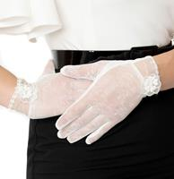 Fiftiesstore 1950s Style White Mesh Floral Applique Wrist Gloves