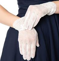 Fiftiesstore White Deco Floral Mesh Wrist Gloves