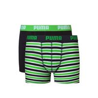 Puma Jongens 2-pack Printed Stripe Boxershorts Zwart / Groen