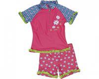 Playshoes Girls UV-Bescherming zwempak Bloemen pink - Roze/lichtroze - Meisjes