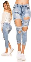 Cosmodacollection Sexy High Waist Jeans in Destroyed Look Jeansblue