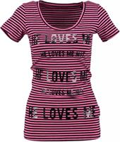 Guess stretch t-shirt roze donkerblauw