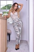 exclusivepremium Lisa Snake Print Trousers Silver