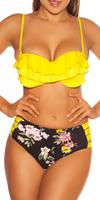 cosmodacollection Sexy Pushup-Bikini w.flowerprint+Highwaist pants Yellow