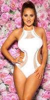 cosmodacollection Sexy Neck-Monokini with net & removable pads White