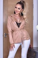 exclusivepremium Elisha Shimmer Belted Jacket Camel