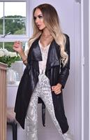 exclusivepremium Annabelle Wet Look Waterfall Jacket Black