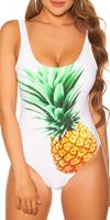 cosmodacollection Trendy swimsuit with pineapple print padded White