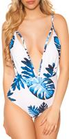 cosmodacollection Trendy swimsuit XL V-Cut with print Blue