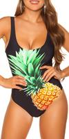 cosmodacollection Trendy swimsuit with pineapple print padded Black