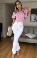 exclusivepremium Ciska Button Detail Flared Trousers Cream
