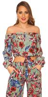Sexy off shoulder shirt floral print with loop Khaki